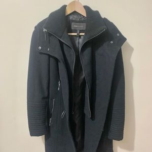 BCBGMaxAzria Samantha Black Wool Toggle Coat